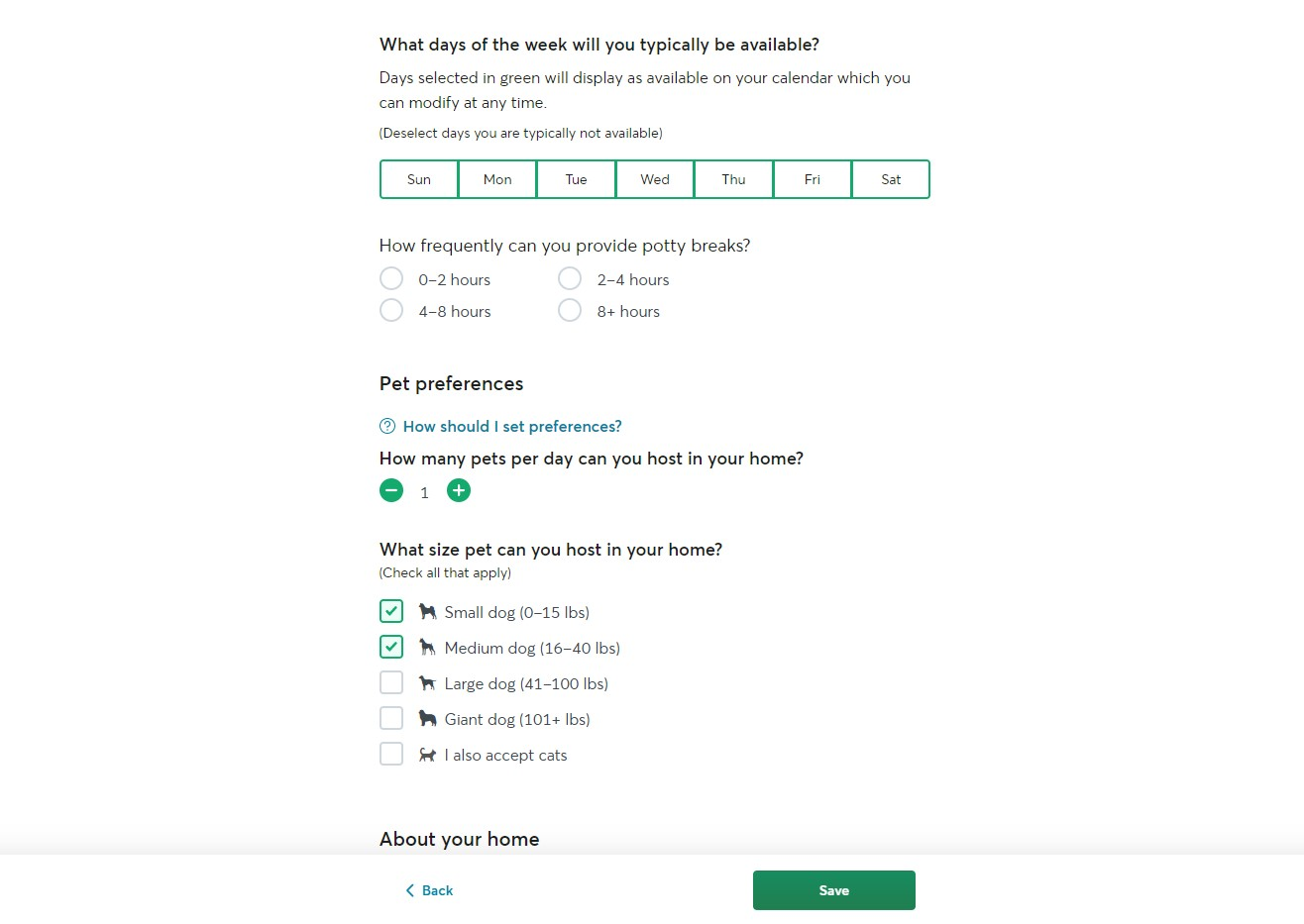 Sign up as a dog sitter on Rover - step 2