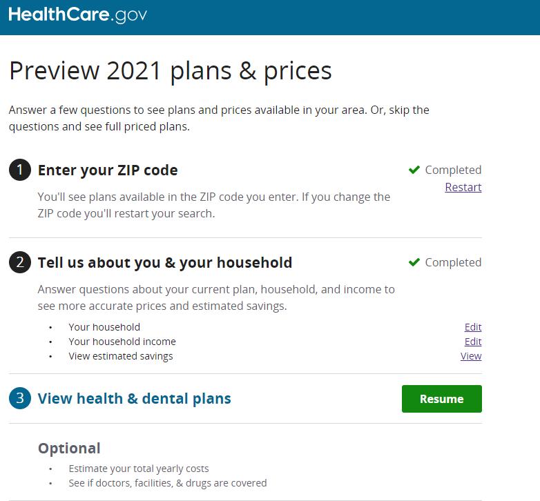 Health insurance questionnaire