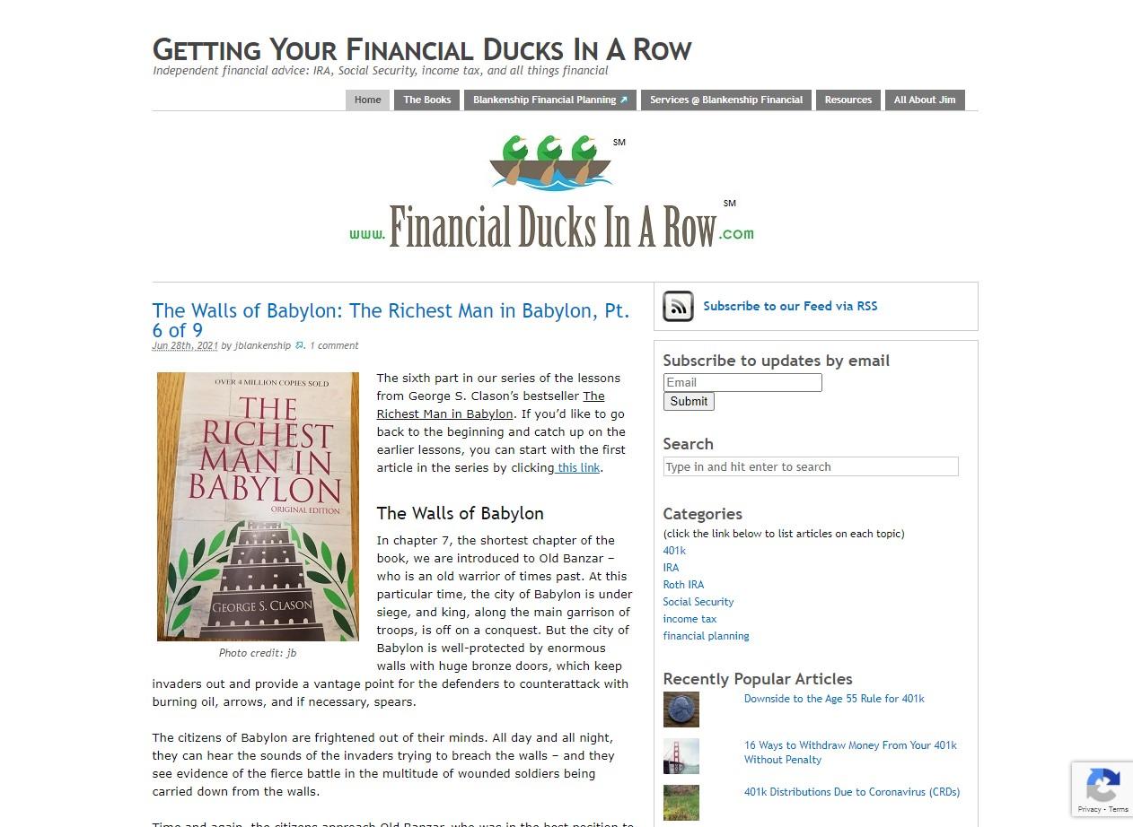 Financial Ducks in a Row