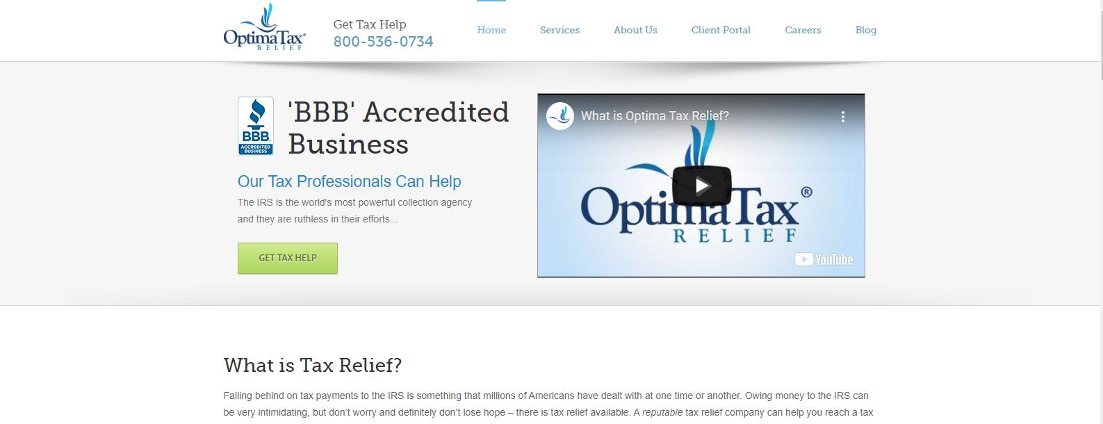 Optima Tax Relief website