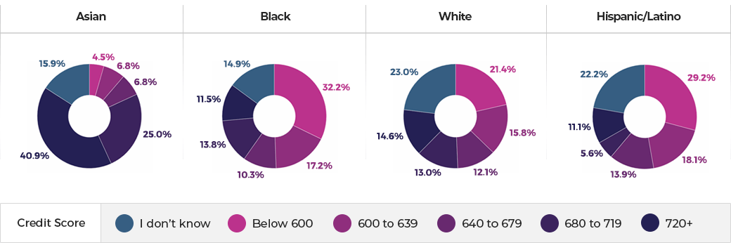 Credit score by ethnicity (US 20-29-year-old)