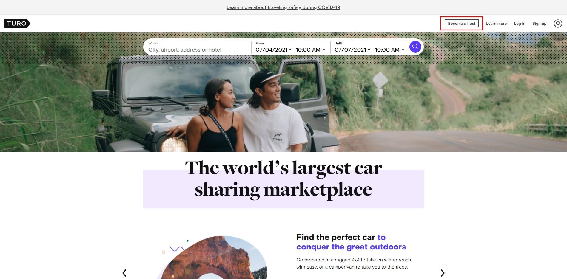 Turo car shaing home page