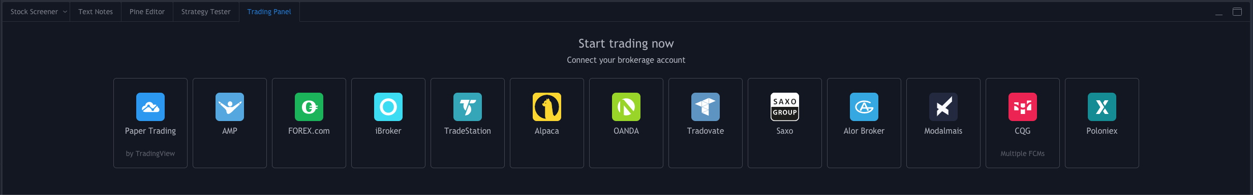 The broker integrations page.