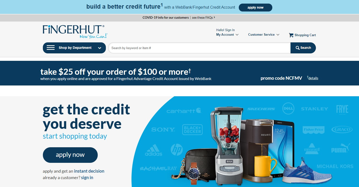 Fingerhut home page