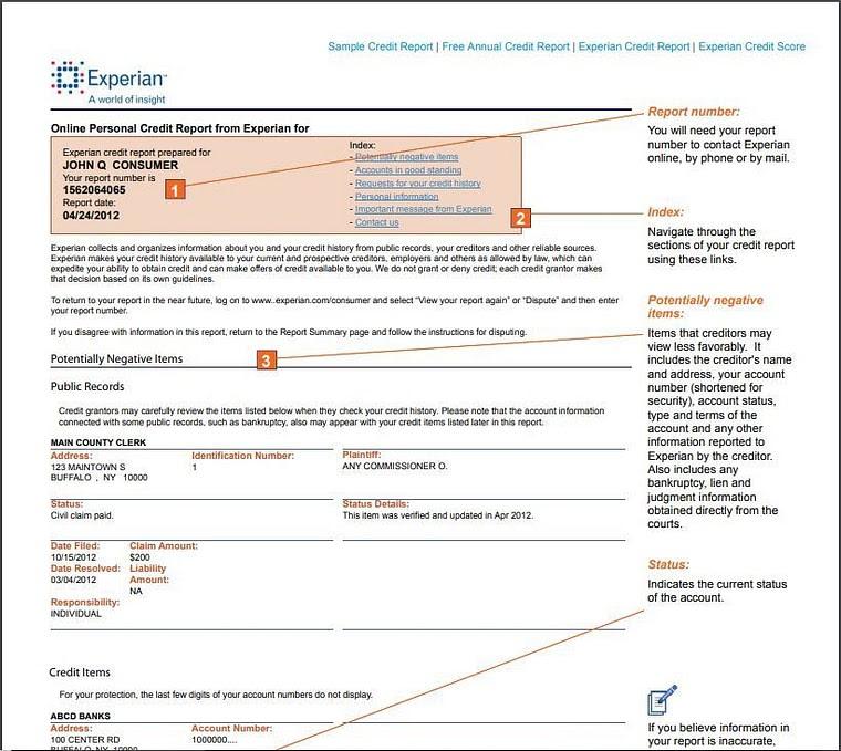 Sample Experian credit report
