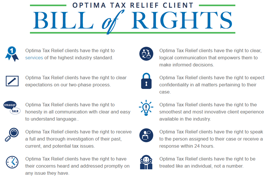 Optima Tax Relief client Bill of Rights