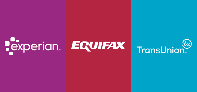 Logos of the big three credit bureaus: Experian, Equifax and TransUnion