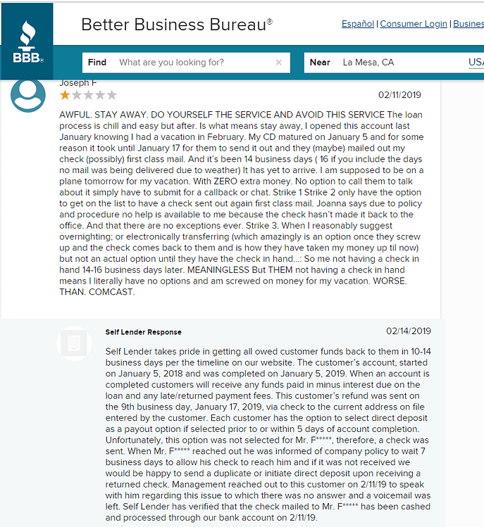 Self Financial Inc. customer complaint on BBB website