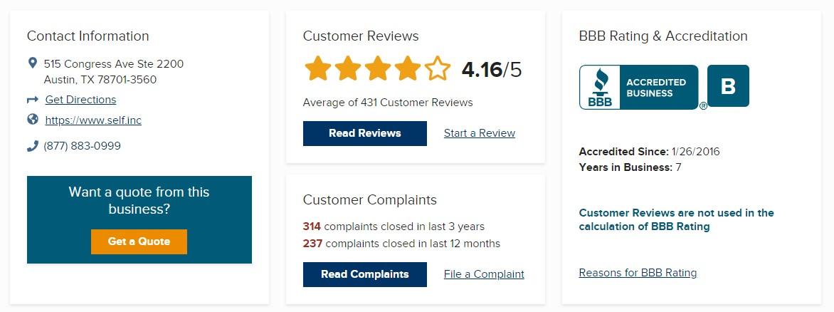 Self Financial Inc. BBB ratings